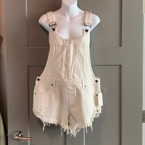 Free People Summer Babe Denim Short Overalls